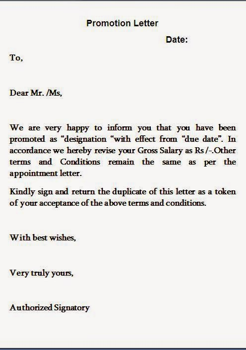 Recommendation Letter Letter Employee Promotion Announcement – Sample of Sales Promotion Letter
