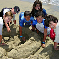 Six kids, five boys and one girl, building a sandcastle together at Zuma Beach