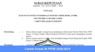 Contoh Format SK PPDB 2018-2019