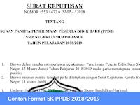 Contoh Format SK PPDB 2018/2019