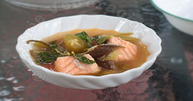 Sinigang Na Tiyan Ng Salmon (Salmon Belly Sour Soup) Recipe
