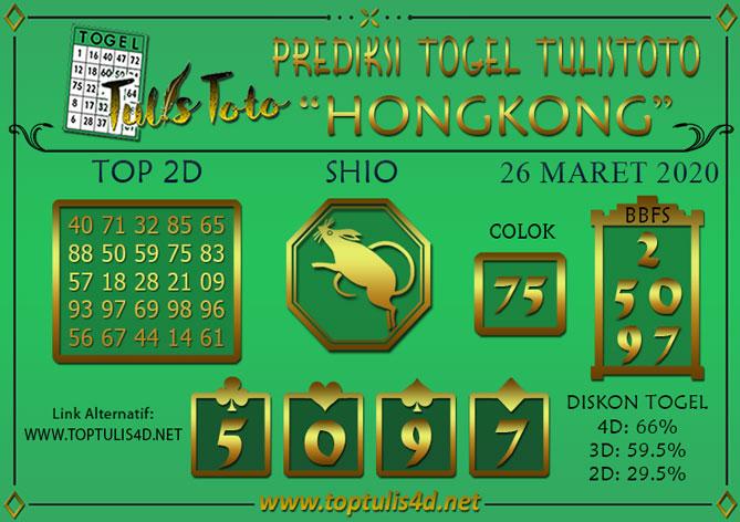 Prediksi Togel HONGKONG TULISTOTO 26 MARET 2020
