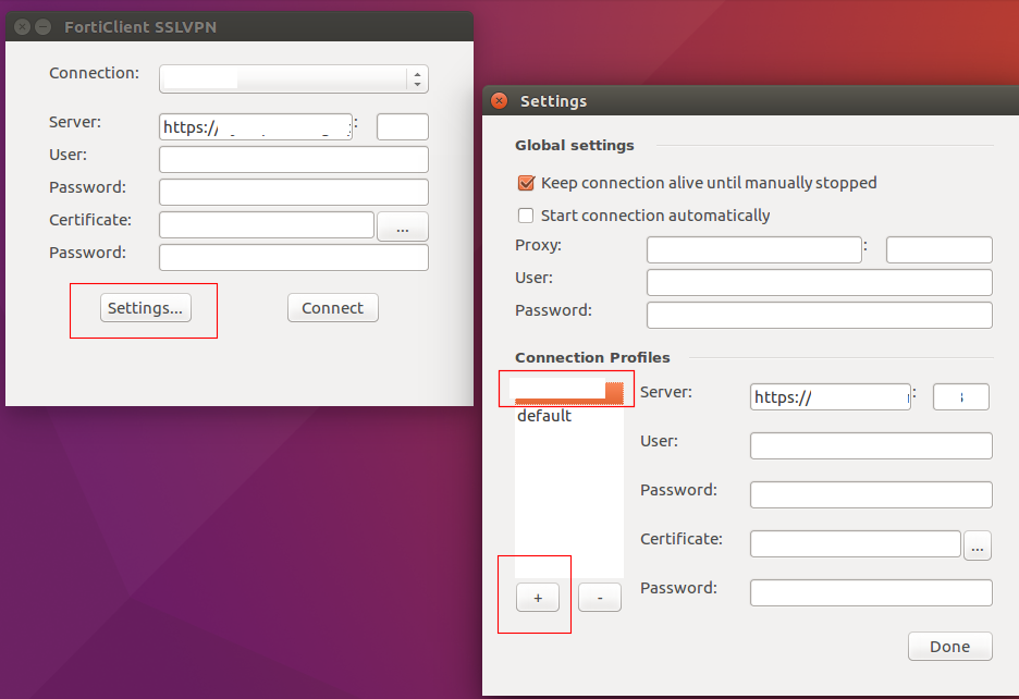 SSL VPN: Configuring and Using Forticlient on Ubuntu, creating a