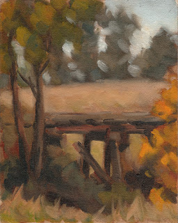 Oil painting of a derelict wooden rail bridge surrounded by trees.