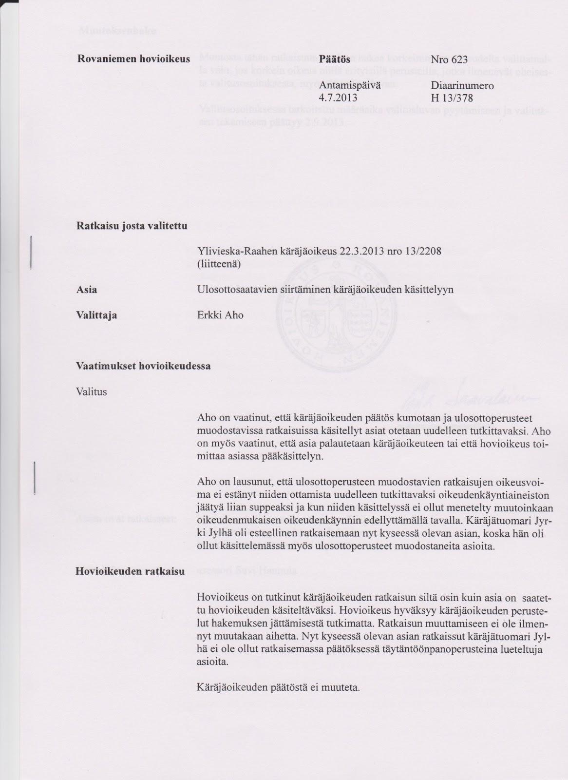 hovioikeuden päätökset 2014
