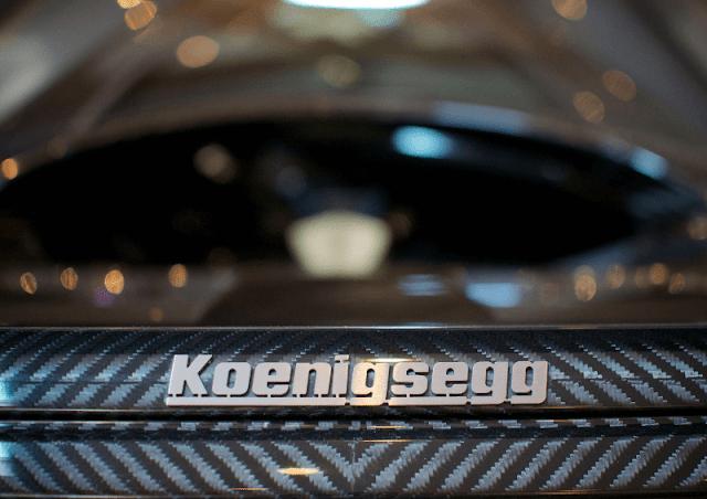 Koenigsegg CCXR Edition close up to badge and carbon fibre