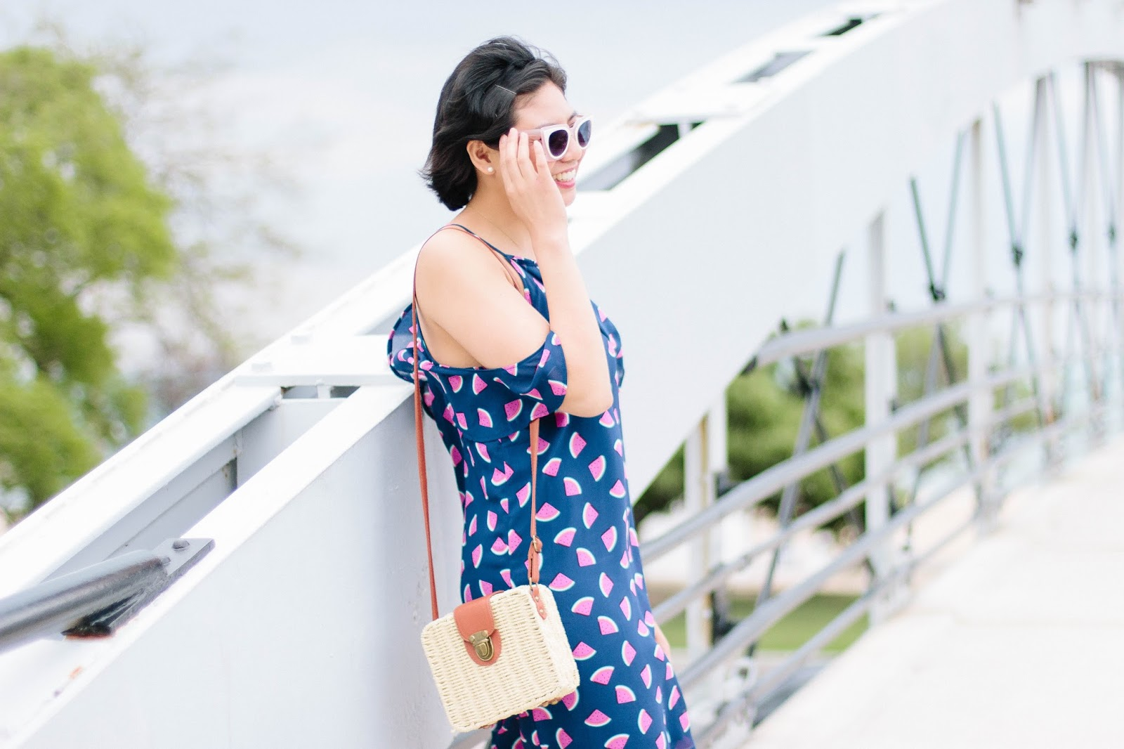 The Five Summer Must-Haves are sunglasses, straw bags, anything in prints, espadrilles, and sunscreen.