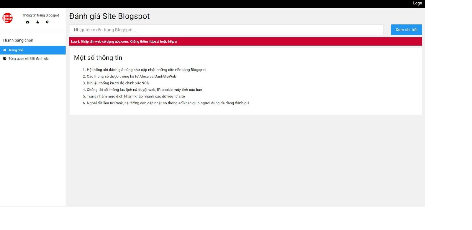 Template Blogger đánh giá rank, thông tin trang web