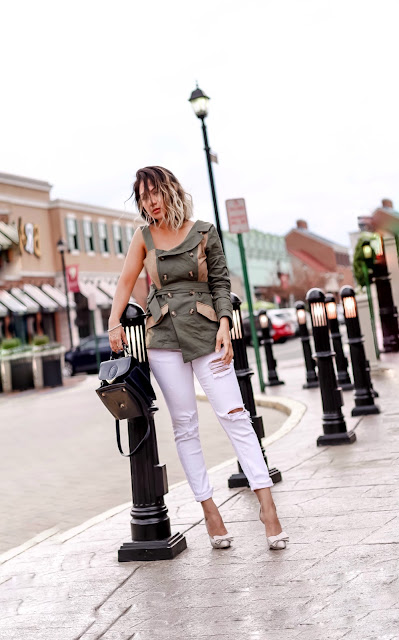 COLD SHOULDER TOP AND WHITE SKINNY JEAN