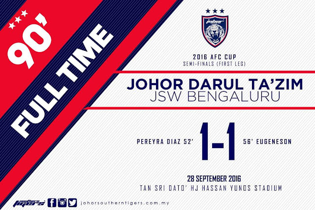 Keputusan jdt vs Bengaluru,  Keputusan jdt di afc,  Separuh akhir piala afc jdt,  Tarikh perlawanan afc jdt,  Kedudukan jdt di piala afc,  Separuh akhir liga afc,  Rekod jdt tanpa kalah di stadium larkin,  Jdt harimau selatan,  Stadium larkin johor bahru,