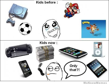 kids now vs. before