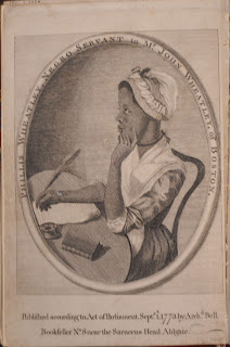 "A portrait of Phillis Wheatley seated at a desk, writing with a quill. The caption notes that she is a ""servant"" to John Wheatley."