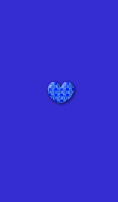 Purple Blue Check Simple Heart