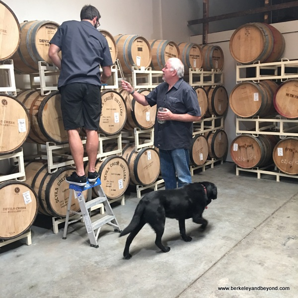barrel tasting at Devils Creek Distillery in Mammoth Lakes, California