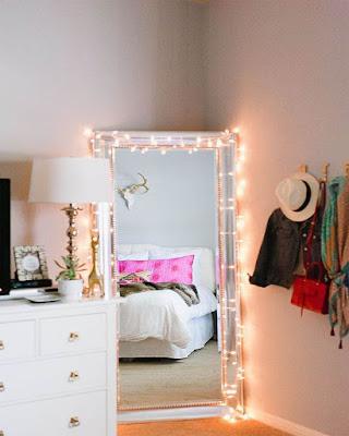 decoracion de espejo tumblr con luces