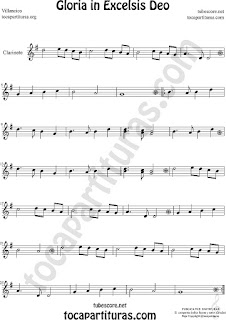 Clarinete Partitura de Gloria in excelsis deo Villancico Sheet Music for Clarinet Music Score