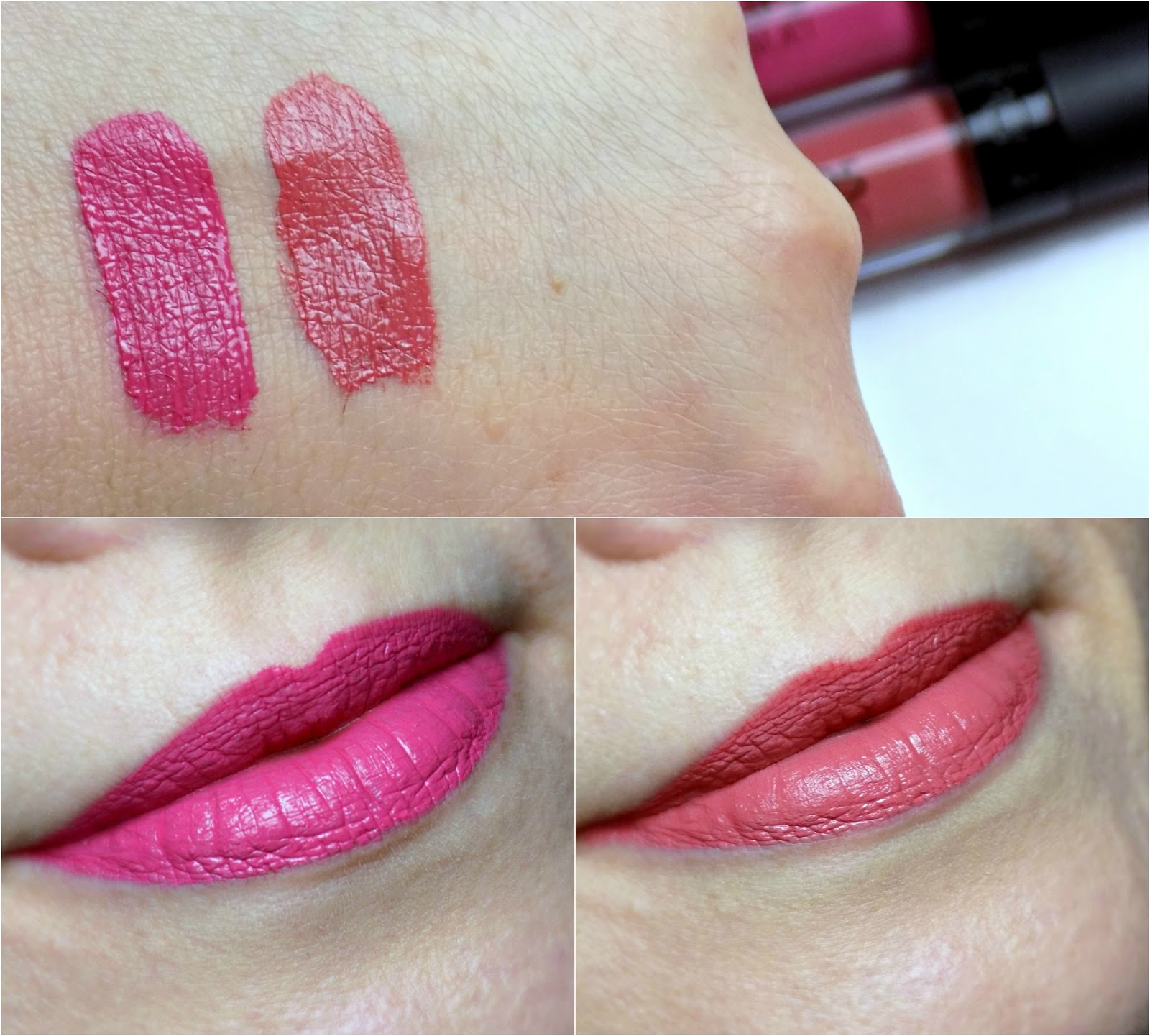 GOSH Liquid Matte Lips, Pink Sorbet, Nougat Fudge, swatches