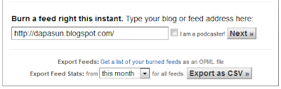 Mengisi url blog ke feed burner