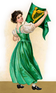 Clipart Image of an Irish Woman in Green Holding a Flag