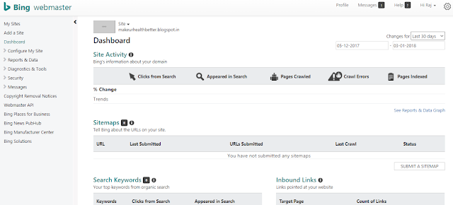 bing dashboard overview