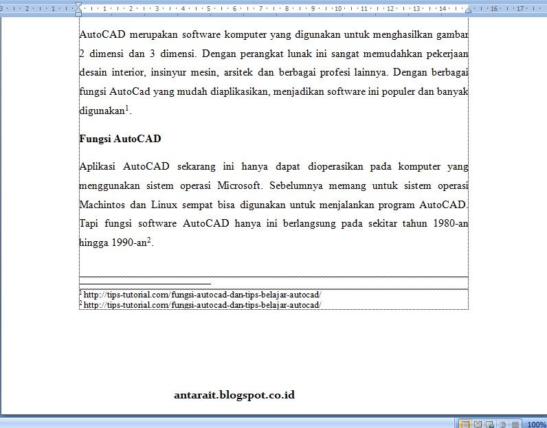 Cara Membuat Catatan Kaki Footnotes Pada Microsoft Word 2007