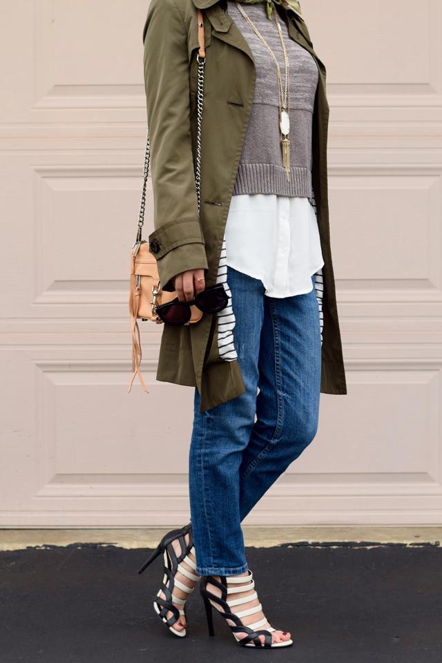 A Day In The Lalz; Fashion Blog; Fall Trends; Fashion Style; Fashion Trends; Fall Fashion; Olive Trench Coat; Boyfriend Jeans; Karen Walker Super Duper; Sweater; Kendra Scott Necklace