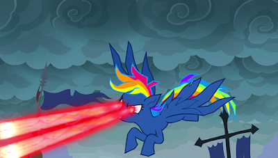 Demon Rainbow Dash zapping a pie with her laser eyes