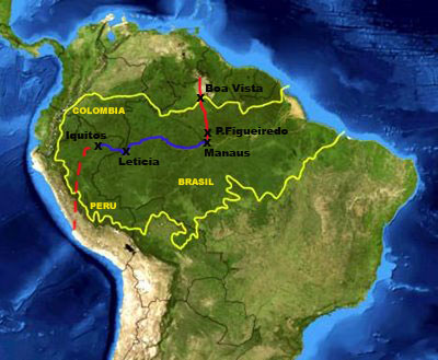 AMAZON RIVER Iquitos Leticia Manaus Route Backpacking