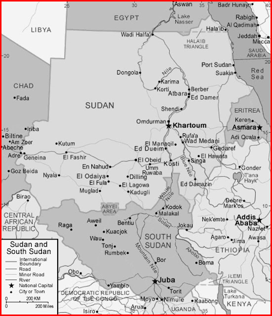image: Black and white Sudan and South Sudan Map