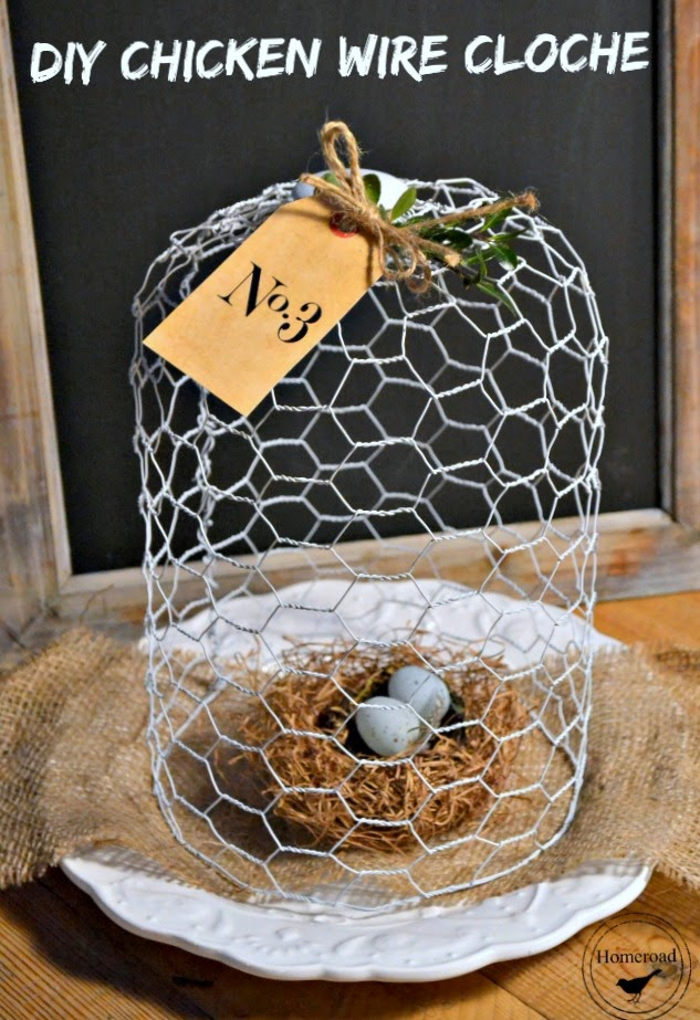 chicken wire cloche with a tag with nest