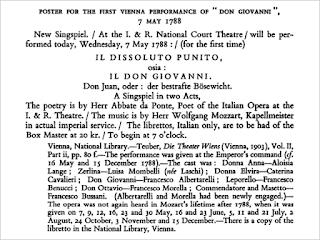 Texto del cartel de la primera función en Viena del Don Giovanni el 7 de mayo de 1788.