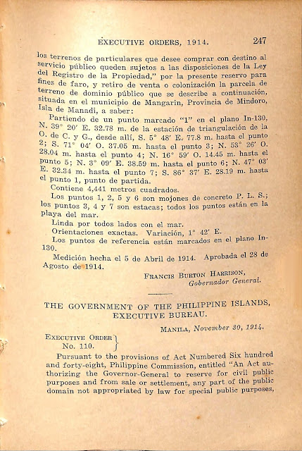 Executive Order series of 1914, English version.