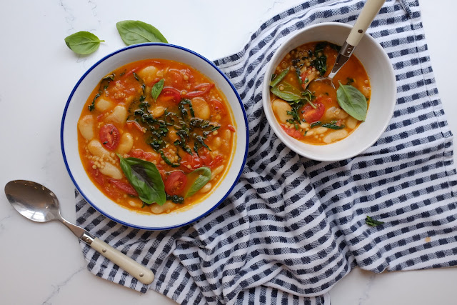 Butter Bean and Tomato Soup with Maftoul and Cavolo Nero Noodles