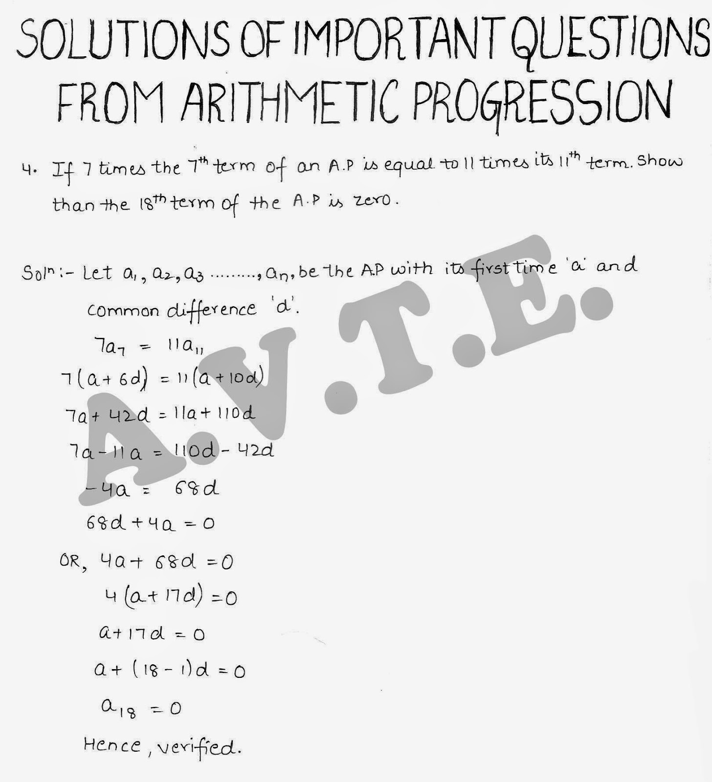 Maths4all: Solutions of Important Questions on AP Arithmetic ...