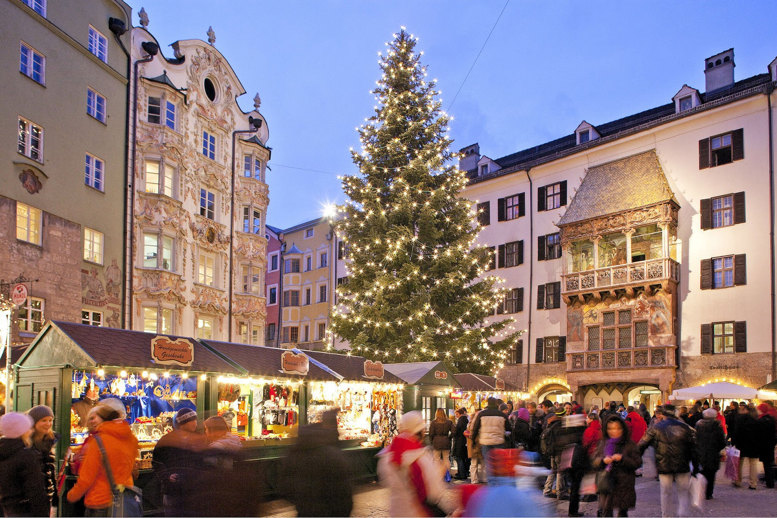 Innsbruck's Christkindlmarkt with another shot of the Golden Roof to the right. Photo: © Christof-Lackner. Unauthorized use is prohibited.