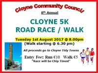 Flat fast 5k in Cloyne in E.Cork...Tues 1st Aug 2017