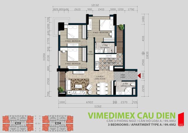 Thiết kế căn hộ A - 99,4m2
