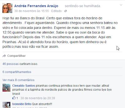 Cidadã Piranhese faz desabafo em rede social com o mau atendimento do Banco do Brasil em Piranhas
