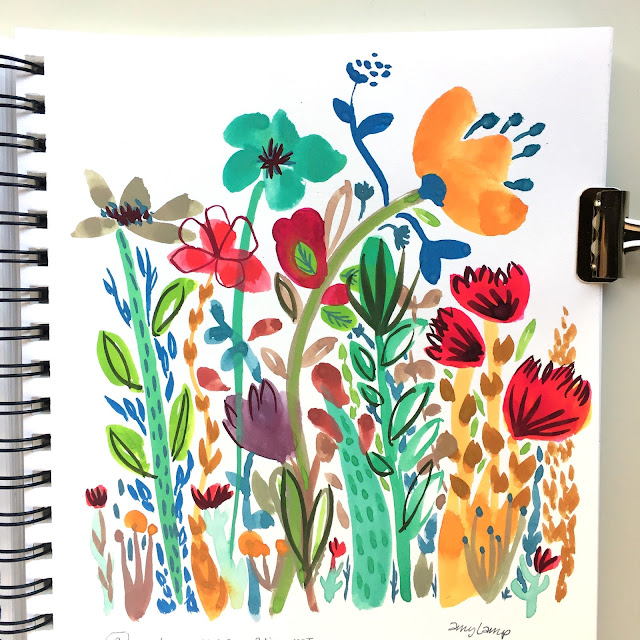Daily Painting 09-19-17 loose and colorful wildflowers gouache illustration in Canson XL Mix Media sketchbook