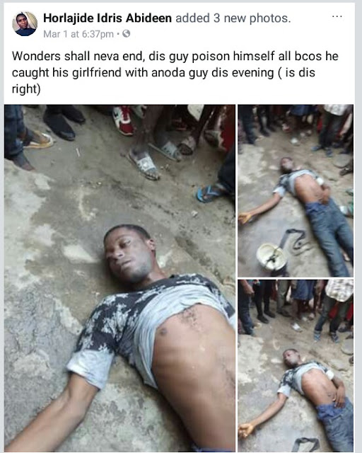 Photos: Man commits suicide in Lagos after catching his girlfriend with another man