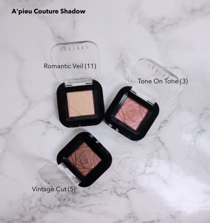 A'pieu Couture Eyeshadows swatches