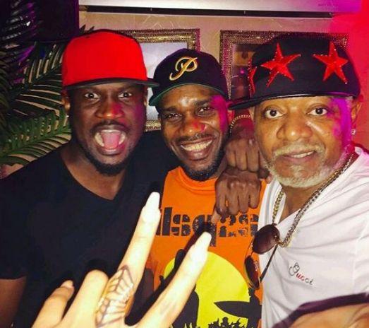Awilo Longomba Spotted In Lagos; Poses With Peter Okoye & Okocha