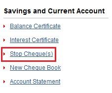 Kotak Mahindra Bank Stop Cheque Payment