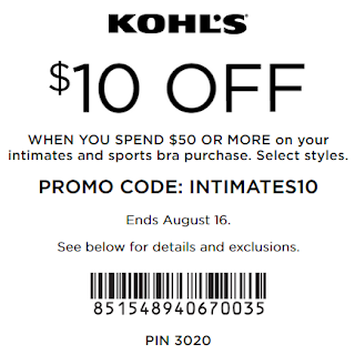 Kohls Intimate Coupon $10 off $50