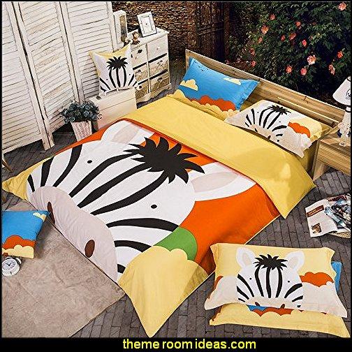 Zebra Yellow Bedding Set Kids Bedding Duvet Cover Set Gift Idea Cartoon Bedding Animal Bedding
