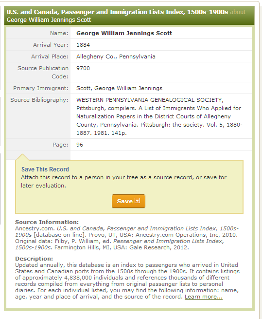 Allegheny Ancestry & Genealogy Trails: A List of Immigrants