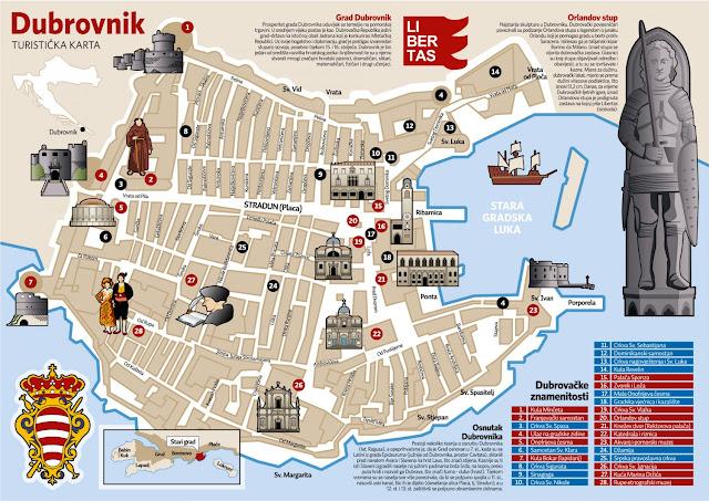 Mapa del Casco histórico de Dubrovnik