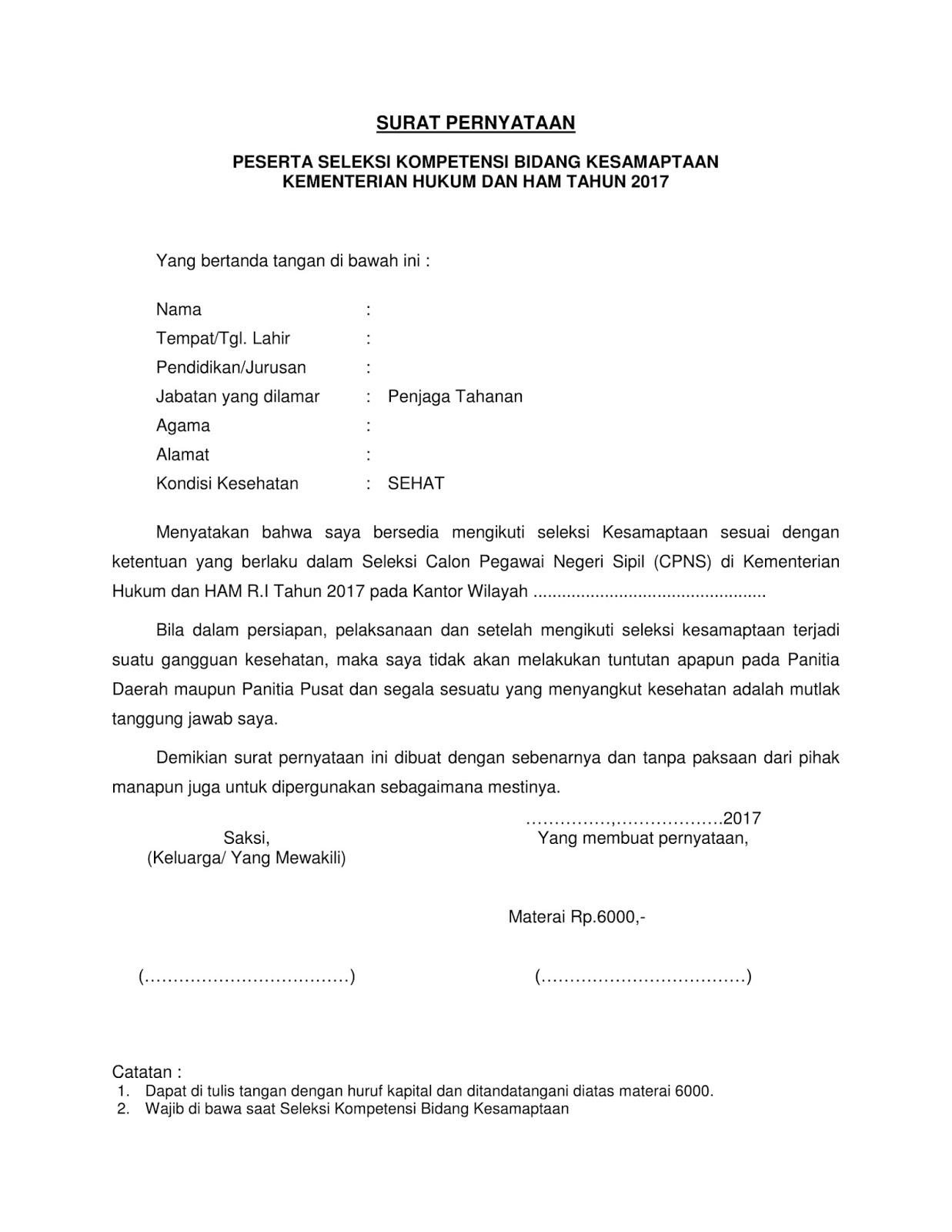 Contoh Surat Pernyataan Seleksi Kesamaptaan CPNS Kemenkumham [Silakan Download]