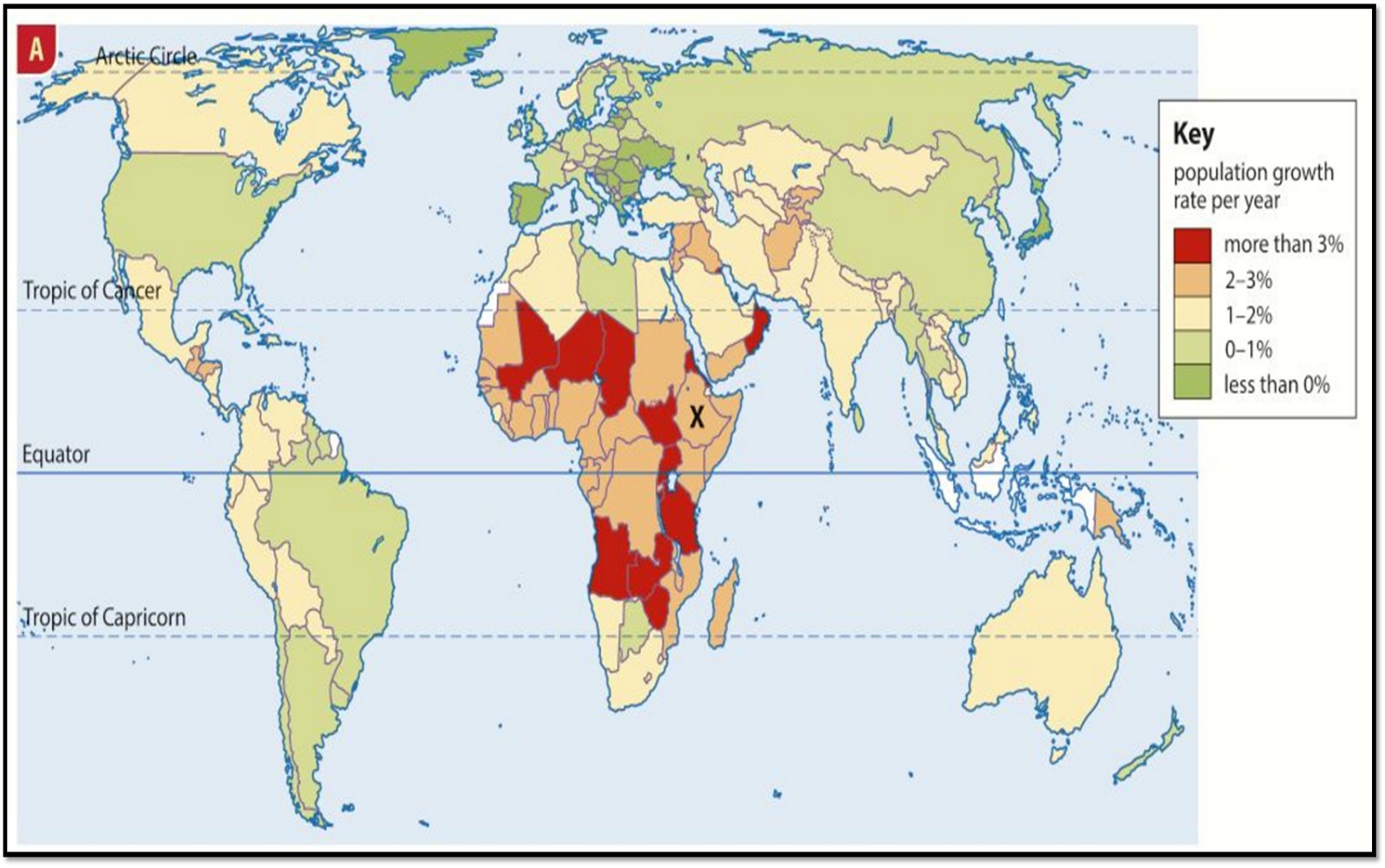 study the map provided what information does it show what does it tell us about global population