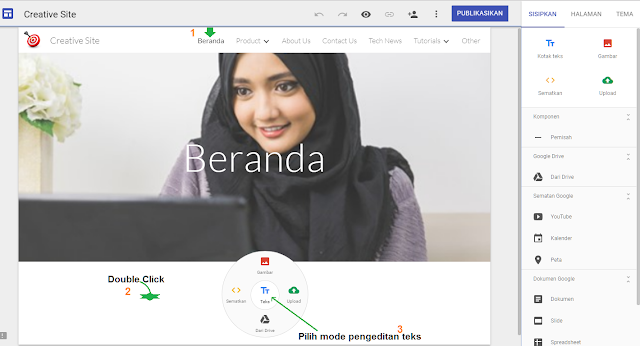 Cara membuat post atau artikel situs web di google sites - gambar 1